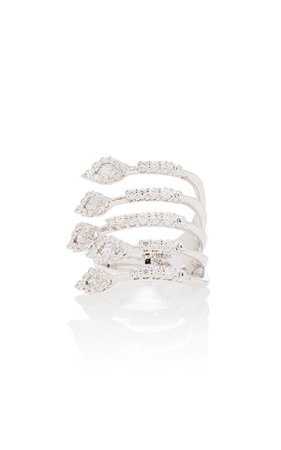 Wrap-Around 18K White And Diamond Ring by Yeprem | Moda Operandi