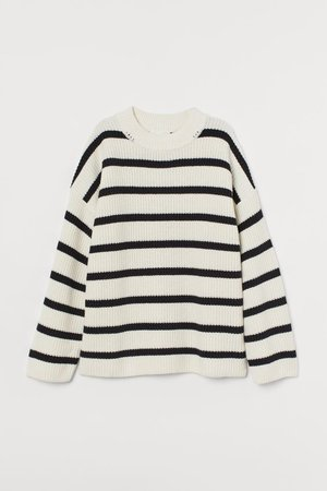 Rib-knit Sweater - Natural white/striped - Ladies | H&M US