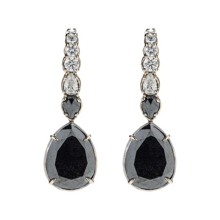 Earrings 18 Karat White Gold, 47.9 Carat Black Diamonds and 2.47 Carat White Dia For Sale at 1stDibs