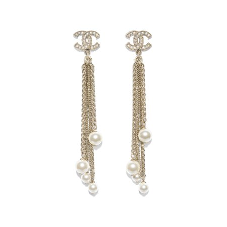 Metal, Glass Pearls, Glass & Resin Gold & Pearly White Earrings | CHANEL
