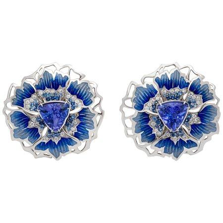Mousson Atelier Tanzanite Diamonds Sapphires 18 Karat White Gold Cornflower Earrings
