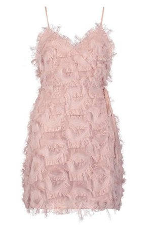 Textured Wrap Detail Dress | Boohoo
