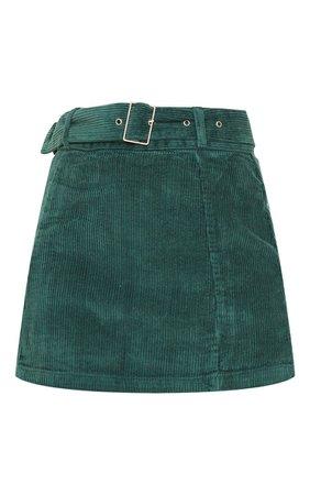 Forest Green Cord Belted Denim Mini Skirt | PrettyLittleThing
