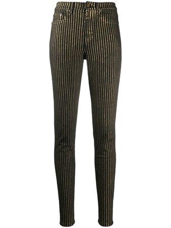 Saint Laurent Metallic Striped Skinny Jeans - Farfetch
