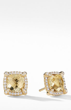 Chatelaine Pave Bezel Stud Earrings with Diamonds, 8mm