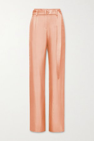 Peach Belted silk-twill wide-leg pants | LAPOINTE | NET-A-PORTER