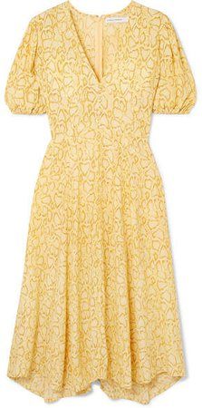 Delia Snake-print Crepe Dress - Pastel yellow