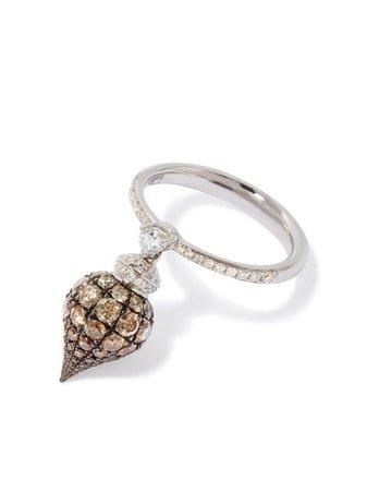Annoushka 18kt White Gold Touch Wood Diamond Ring - Farfetch