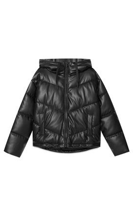 Hooded faux leather puffer jacket - Women's Just in | Stradivarius United States