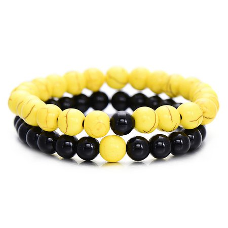 2pcs/Set Fashion 8mm Natural Black Onyx Beaded Bracelets & Bangles Summer Yellow Distance Bracelet for Lovers Couple Gift-in Strand Bracelets from Jewelry & Accessories on Aliexpress.com | Alibaba Group
