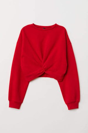 Tie-detail Sweatshirt - Red
