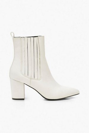 Block Heel Pointed Shoe Boots | Boohoo white