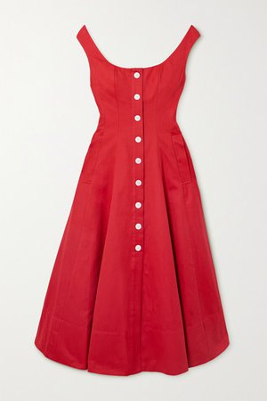 Loretta Cotton-blend Faille Midi Dress - Red