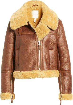Crop Faux Shearling Aviator Jacket
