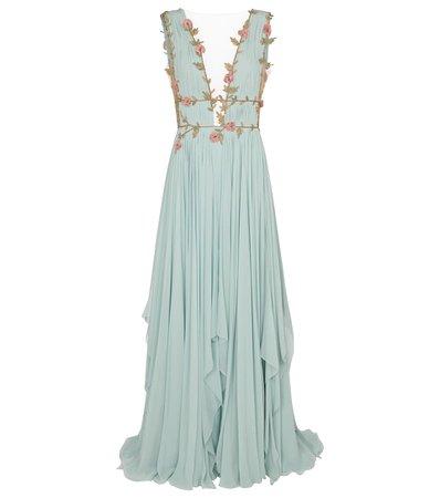 COSTARELLOS Radella floral silk-blend chiffon gown