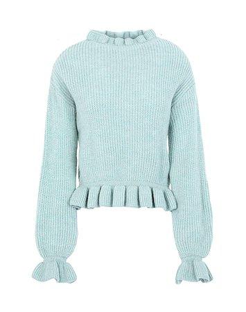 Topshop Blue Frill Neck Knitted Jumper - Turtleneck - Women Topshop Turtlenecks online on YOOX United States - 14105651MX