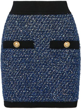 Button-embellished Metallic Tweed Mini Skirt - Blue