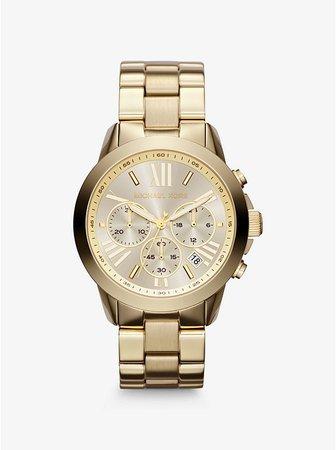 Oversized Bradshaw Gold-tone Watch   Michael Kors