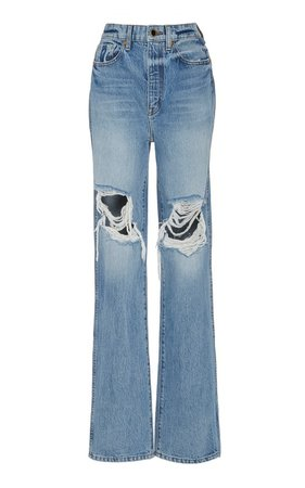 Danielle Distressed High-Rise Straight-Leg Jeans by Khaite | Moda Operandi