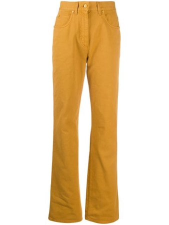 Shop yellow Fendi logo-patch straight-leg jeans with Express Delivery - Farfetch