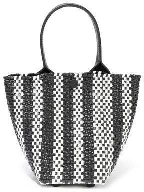 Truss Le Mini Sac Striped Woven Raffia-effect Tote