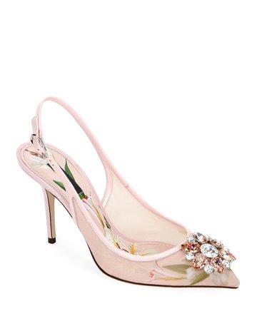 Dolce & Gabbana Rosa Lilium Slingback Pumps | Neiman Marcus