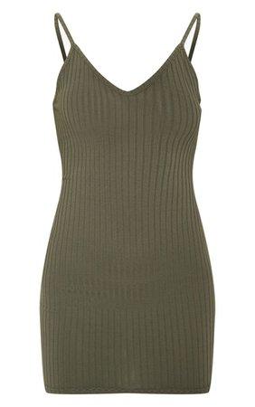 Khaki Rib Plunge Strappy Bodycon Dress | PrettyLittleThing