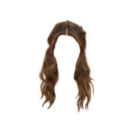brown long curly hair png