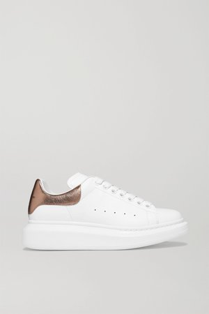 White Metallic-trimmed leather exaggerated-sole sneakers | Alexander McQueen | NET-A-PORTER