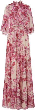 Cape-Overlay Floral Silk Gown