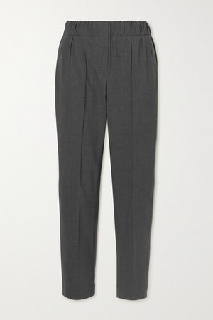Cropped Wool-blend Straight-leg Pants - Charcoal