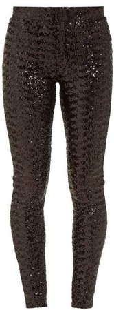 Odiz Sequined Skinny Fit Trousers - Womens - Black