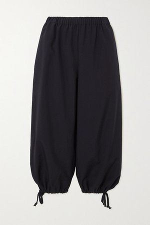 Cropped Wool Straight-leg Pants - Navy
