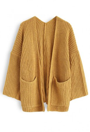 V-Shape Cutout Back Knit Cardigan in Mustard - NEW ARRIVALS - Retro, Indie and Unique Fashion