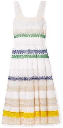 Lace-trimmed Cotton-voile Midi Dress - White