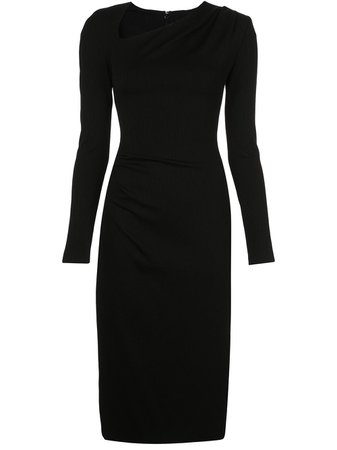 Christian Siriano, Fitted Ruched Midi Dress
