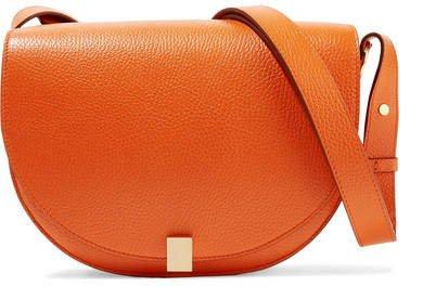 Half Moon Box Textured-leather Shoulder Bag - Orange