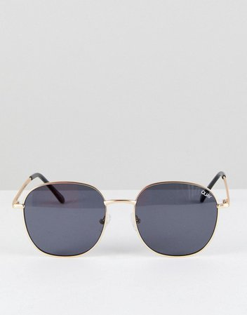 Quay Australia Jezabell round sunglasses in gold/smoke | ASOS