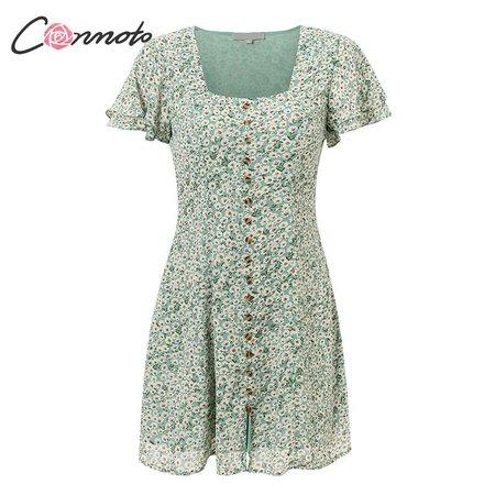 green floral ruffle dress