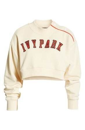 IVY PARK® Baseball Popper Crop Sweatshirt   Nordstrom