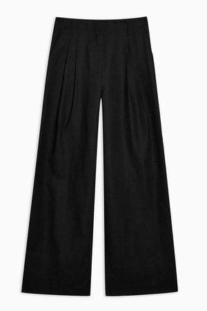 Black Wide Leg Herringbone Trousers With Linen | Topshop