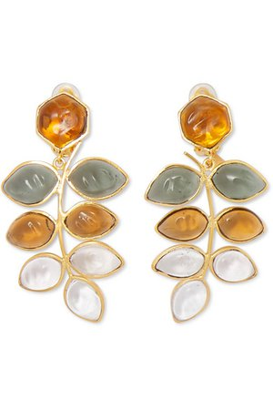 Loulou de la Falaise | Gold-plated and glass clip earrings | NET-A-PORTER.COM
