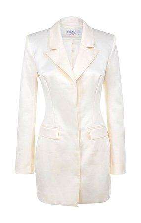 Clothing : Jackets : 'Perina' Ivory Satin Blazer Dress