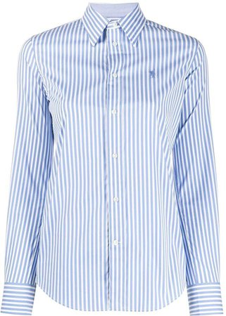 Logo Embroidered Striped Shirt