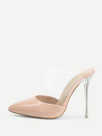 Clear PVC Panel High Heeled Mules