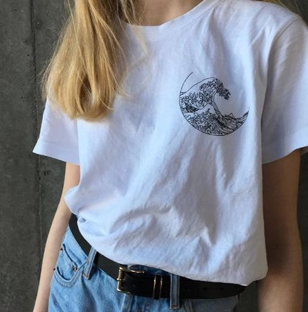 the great wave moon t-shirt