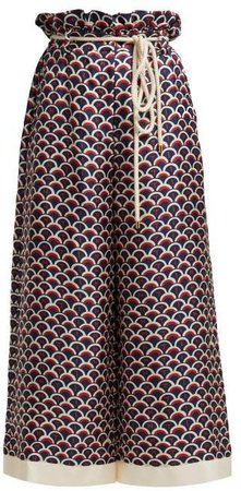 Scale Print Paperbag Waist Silk Trousers - Womens - Navy Multi