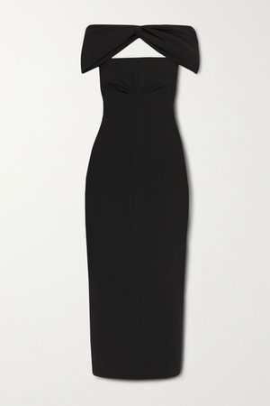 Black Padma off-the-shoulder cutout crepe midi dress | Emilia Wickstead | NET-A-PORTER