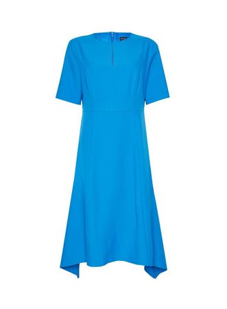 Blue Asymmetric Hem Dress | Dorothy Perkins