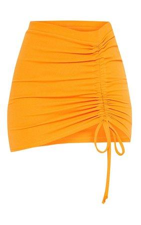 Hot Orange Ruche Detail Mini Skirt